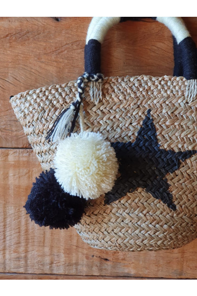 St Barths Basket - Black Star